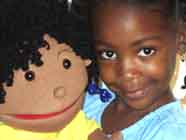Girl with girl puppet