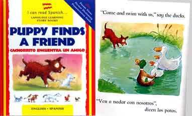 Puppy finds a Friend - Spanish-English bilingual book