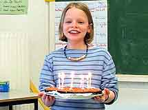 Celebrating a pupil's birthday in a French classroom